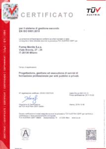 Certificato Qualità ISO 9001:2015 - TUV Austria